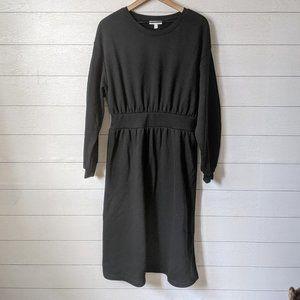 Prologue Black Sweatshirt Midi Dress L NWT